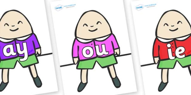 Phase 5 Phonemes on Humpty Dumpty - Phonemes, phoneme, Phase 5, Phase five, Foundation, Literacy, Letters and Sounds, DfES, display
