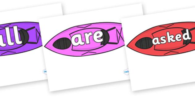 Tricky Words on Kayaks - Tricky words, DfES Letters and Sounds, Letters and sounds, display, words