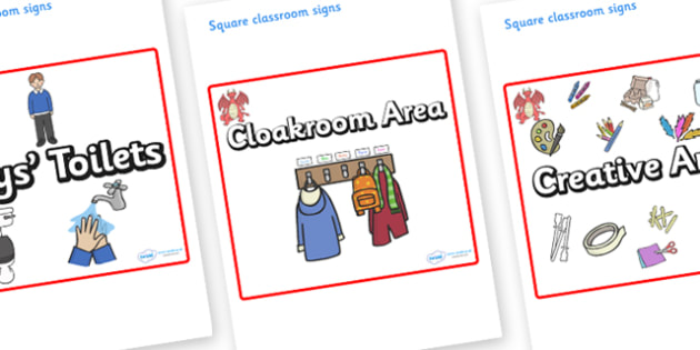 Dragon Themed Editable Square Classroom Area Signs (Plain) - Themed Classroom Area Signs, KS1, Banner, Foundation Stage Area Signs, Classroom labels, Area labels, Area Signs, Classroom Areas, Poster, Display, Areas