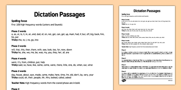 KS1 Dictation Passages 100 High Frequency Words Guide