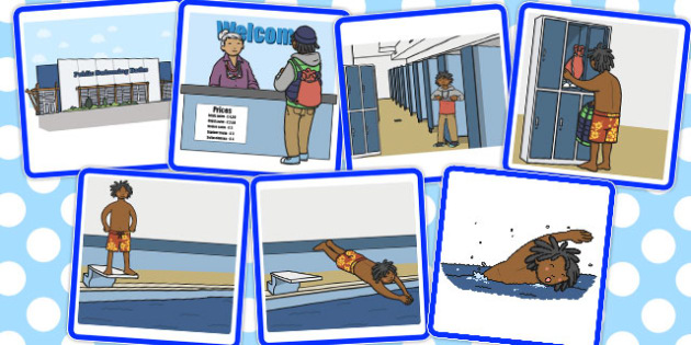 7 Step Sequencing Cards Going Swimming - sequencing, swimming
