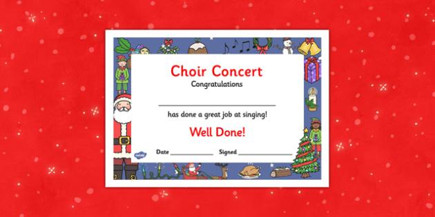 Christmas Themed Choir Singing Concert Certificates - christmas, themed, choir, singing, certificate, concert