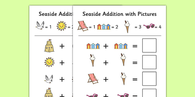 Seaside Themed Addition with Pictures Activity Sheet Pack - seaside, themed, addition, pictures, activity, sheets, worksheet