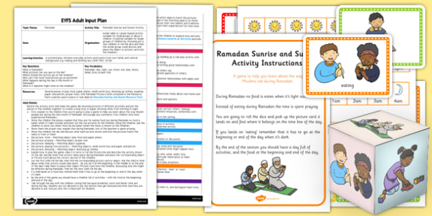 Ramadan Sunrise and Sunset Activity EYFS Adult Input Plan and Resource Pack
