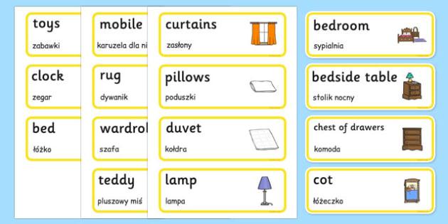 Bedroom Word Cards Polish Translation - polish, houses and homes, house, home, building, bedroom, Word cards, Word Card, flashcard, flashcards, brick, stone, detached, terraced, bathroom, kitchen, door, caravan, where we live, ourselves