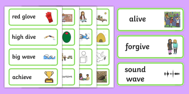 Two Syllable Final 'V' Sound Word Cards - final v, sound, word cards