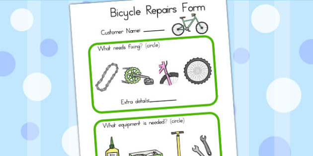 Bicycle Shop Repairs Form - bicycle, cycle, role play, bike, form