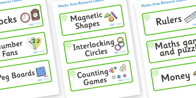 Green Themed Editable Maths Area Resource Labels - Themed maths resource labels, maths area resources, Label template, Resource Label, Name Labels, Editable Labels, Drawer Labels, KS1 Labels, Foundation Labels, Foundation Stage Labels, Teaching Label