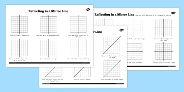 Reflections in a Mirror Line Worksheet - australia, mirror line