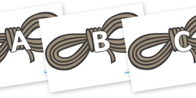 A-Z Alphabet on Ropes - A-Z, A4, display, Alphabet frieze, Display letters, Letter posters, A-Z letters, Alphabet flashcards