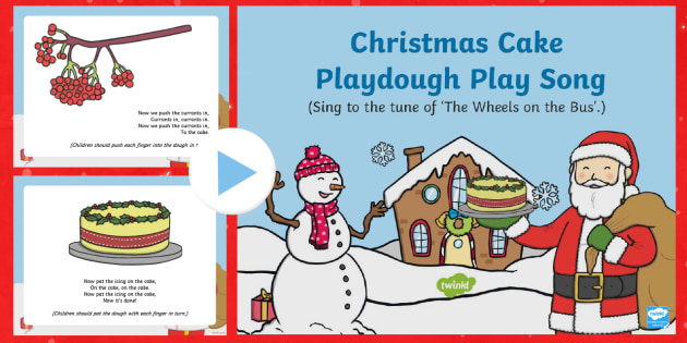 Christmas Cake Playdough Play Song PowerPoint - EYFS, Early Years, Christmas, winter, Playdough Play,Dough Disco, finger gym, fine motor skills, Phy