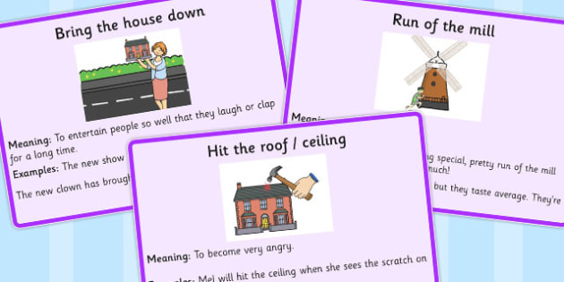 Building Idiom Meaning Cards - building, idiom, meaning, cards