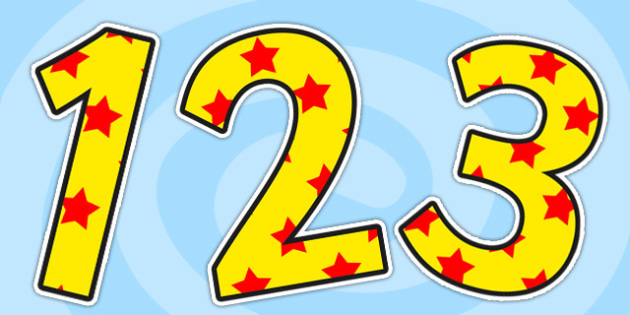 Yellow and Red Stars Small Display Numbers - stars, numbers