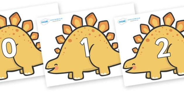 Numbers 0-50 on Stegosaurus Dinosaurs - 0-50, foundation stage numeracy, Number recognition, Number flashcards, counting, number frieze, Display numbers, number posters