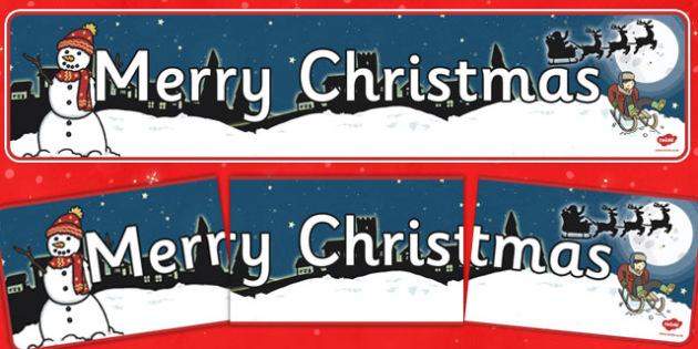 Christmas Display Banner (Merry Christmas) - Christmas, xmas, display banner, Merry Christmas, tree, advent, nativity, santa, father christmas, Jesus, tree, stocking, present, activity, cracker, angel, snowman, advent , bauble