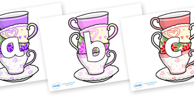 Phoneme Set on Teacups - Phoneme set, phonemes, phoneme, Letters and Sounds, DfES, display, Phase 1, Phase 2, Phase 3, Phase 5, Foundation, Literacy
