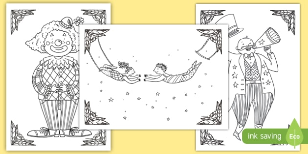 Circus Themed Mindfulness Colouring Pages