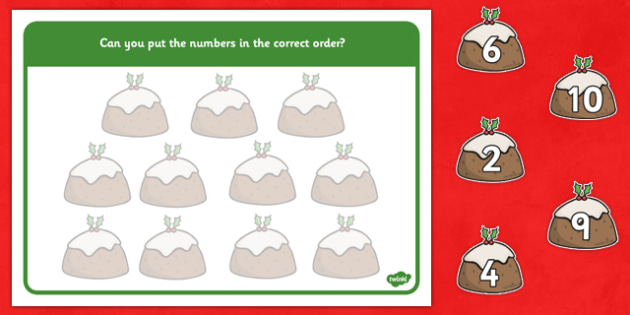 Christmas Number Ordering (Christmas Puddings) - Christmas, xmas, number ordering, number, order, ordering, advent, nativity, santa, father christmas, Jesus, tree, stocking, present, activity, cracker, angel, snowman, advent , bauble sorting, large,