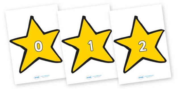 Numbers 0-50 on Stars (Plain) - 0-50, foundation stage numeracy, Number recognition, Number flashcards, counting, number frieze, Display numbers, number posters