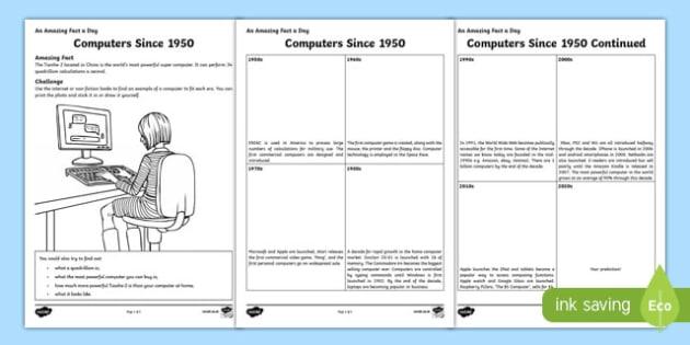 Computers Since 1950 Activity Sheet, worksheet