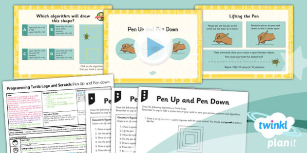 PlanIt - Computing Year 3 - Programming Turtle Logo and Scratch Lesson 2: Pen Up and Pen Down Lesson Pack