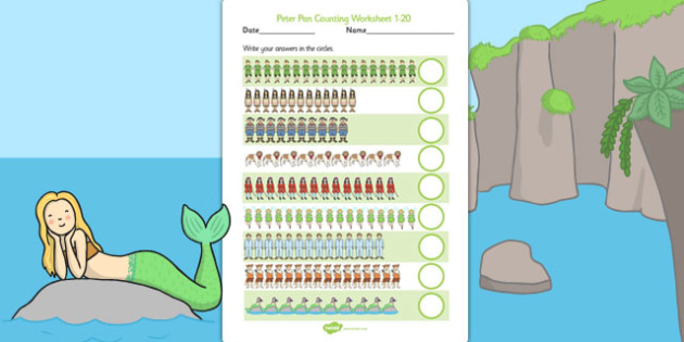 Peter Pan Counting Worksheet 1-20 - peter pan, counting, sheet