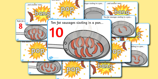 10 Fat Sausages Visual Aids - Number rhyme, subtraction, sausage, sausages, pop, bang, nursery rhyme, numeracy, numbers, counting, foundation stage numeracy