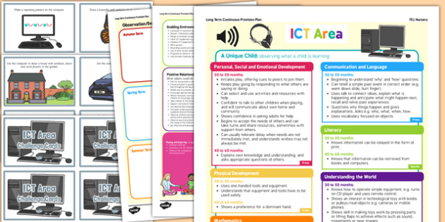 ICT Area Continuous Provision Plan Poster and Challenge Cards Pack Nursery FS1 - eyfs, pack, ict area