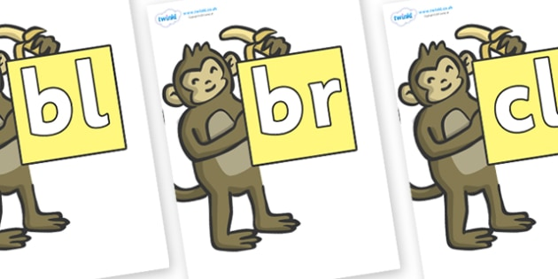 Initial Letter Blends on Monkeys - Initial Letters, initial letter, letter blend, letter blends, consonant, consonants, digraph, trigraph, literacy, alphabet, letters, foundation stage literacy