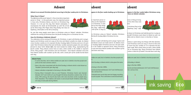 Advent KS2 Differentiated Fact File