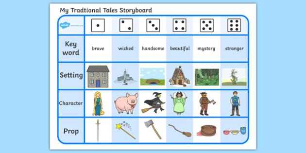 Traditional Tales Storyboard Activity Sheet, worksheet