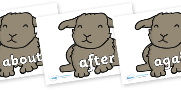 KS1 Keywords on Rabbits - KS1, CLL, Communication language and literacy, Display, Key words, high frequency words, foundation stage literacy, DfES Letters and Sounds, Letters and Sounds, spelling