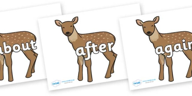 KS1 Keywords on Fawns - KS1, CLL, Communication language and literacy, Display, Key words, high frequency words, foundation stage literacy, DfES Letters and Sounds, Letters and Sounds, spelling