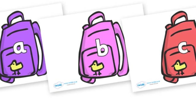 Phase 2 Phonemes on Backpacks - Phonemes, phoneme, Phase 2, Phase two, Foundation, Literacy, Letters and Sounds, DfES, display