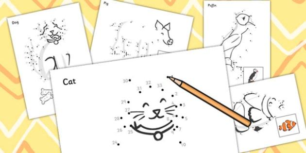 Dot to dot Sheets (Animals) - dot to dot sheets animals, dot to dot, sheets, animals, animal, colouring, fine motor skills, drawing, game, activity, draw, line