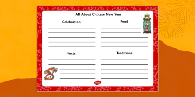 Chinese New Year Writing Frame - chinese new year, writing frame
