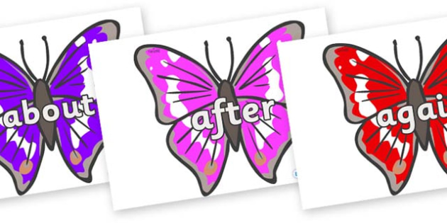 KS1 Keywords on Emperor Butterflies - KS1, CLL, Communication language and literacy, Display, Key words, high frequency words, foundation stage literacy, DfES Letters and Sounds, Letters and Sounds, spelling
