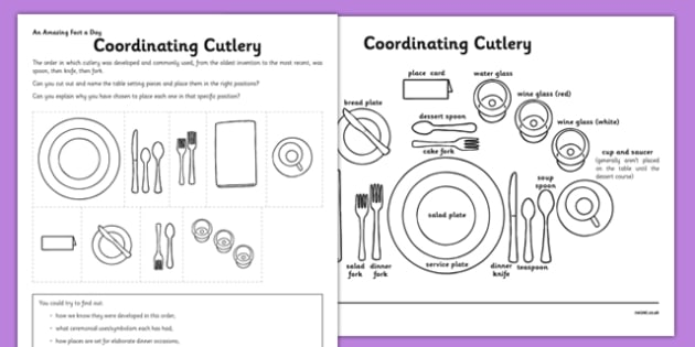 Coordinating Cutlery Activity Sheet - knives, forks, spoons, matching, challenge, research, home, education, learning, worksheet