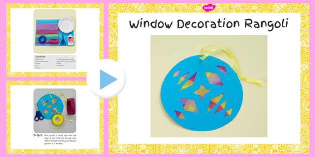 Window Decoration Rangoli Pattern Craft Instructions PowerPoint - window, rangoli