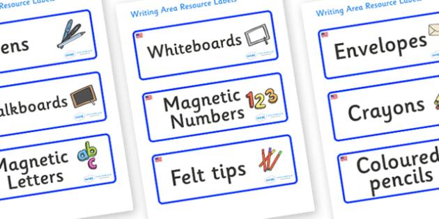 USA Themed Editable Writing Area Resource Labels - Themed writing resource labels, literacy area labels, writing area resources, Label template, Resource Label, Name Labels, Editable Labels, Drawer Labels, KS1 Labels, Foundation Labels, Foundation St