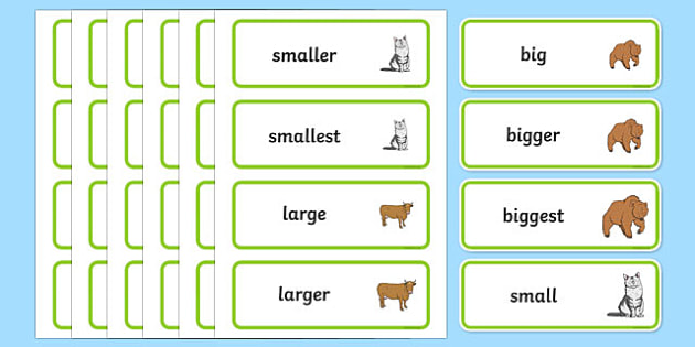 Size Word Cards - Size, measuring, shapes spaces and measures, ordering, large, larger, largest, small, smaller, smallest, sizes
