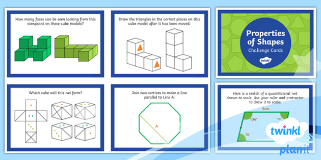 PlanIt Y6 Properties of Shape Challenge Cards - Properties of shapes, 2D shapes, 3D shapes, polygons, angles, parts of circles.