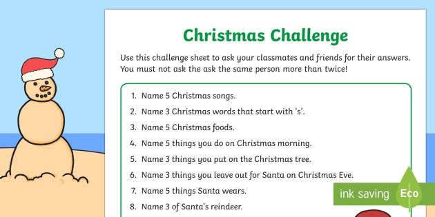 Christmas challenge Activity Sheet