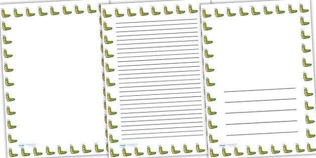 Caterpillar Full Page Borders - page borders, caterpillar page borders, caterpillar borders for page, minibeast page borders, A4, border for page, lined