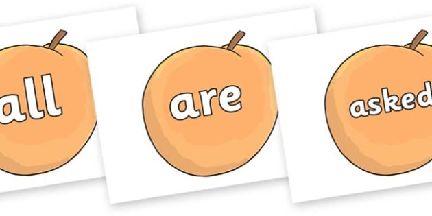 Tricky Words on Giant Peach to Support Teaching on James and the Giant Peach - Tricky words, DfES Letters and Sounds, Letters and sounds, display, words