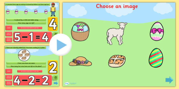 Easter Subtraction PowerPoint - easter, subtract, minus, takeaway