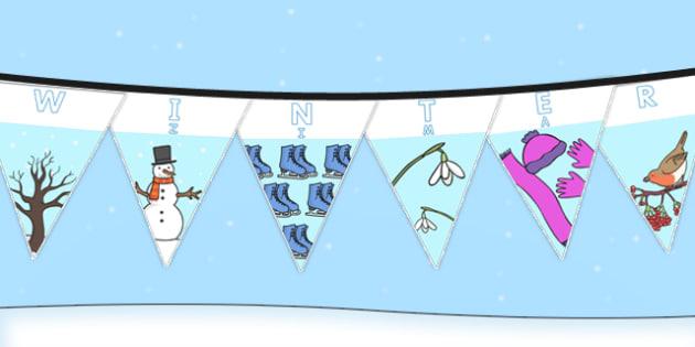 Winter Display Lettering Bunting Polish Translation - polish, winter, display lettering, display, letter, bunting