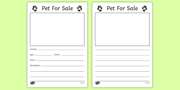 Pet for Sale Writing Template - Pet shop, pets, pet, role play, pets role play, writing template, writing, border, cat, dog, rabbit