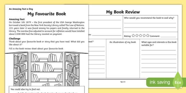 My Favourite Book Activity Sheet, worksheet