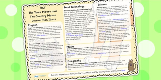 The Town Mouse and The Country Mouse Lesson Plan Ideas KS1